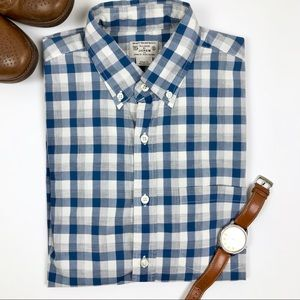 Tailored by J. Crew Blue & Grey Plaid Buttondown